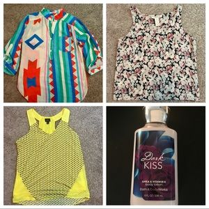 Women's print tops size medium with gift.